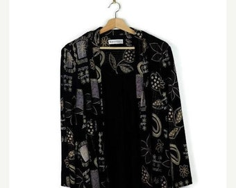 ON SALE Black x floral printed Slouchy Cardigan from 90's