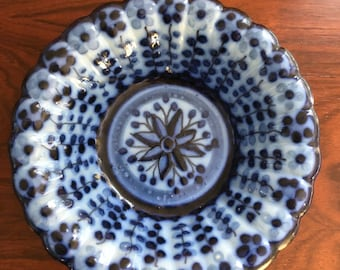 Antique Delft-style blue porcelain bowl