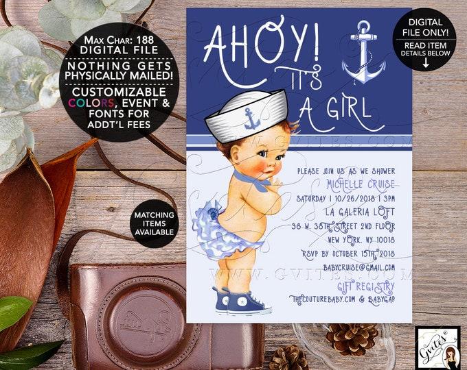 Nautical Baby Shower Invitations, Ahoy its a girl, Vintage Baby Girl, Blue white Printable Invites, little sailor girl, 5x7, Digital, Gvites