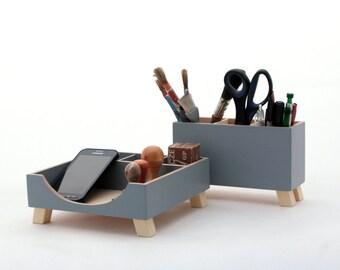 Grey Organizer, Handmade desk storage, Wood set for Desk , Desktop Office Organizer, Pencils holder, back to school, gift for boyfriend