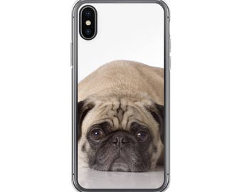 iPhone X Case, iPhone 6/6S, iPhone 7/7+ Cases ,Case iPhone 8/8+ Case, Bored Dog, cute Pug, print