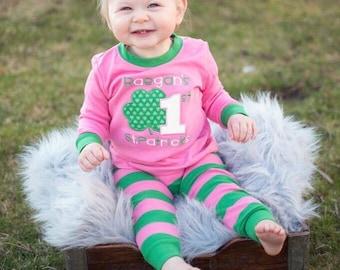 St. Patrick's Day pajamas, First St. Patricks day pajama, saint patty pajama, saint patty pj, boy girl baby pajamas, embroidery, appliqué