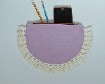 Pink Half Moon Clutch, Pencil pouch, zipper bag