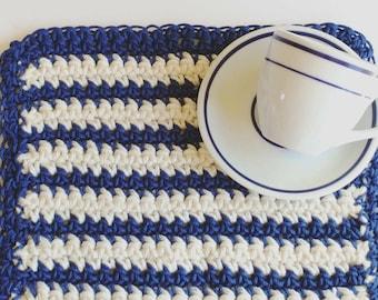 Trivet, blue beige nautical inspired Pot Holder, coastal crochet washcloth, housewarming gift kitchen dining decor home and living