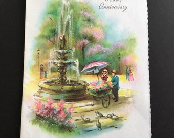 Vintage ( unused) Anniversary Greeting Card, flower cart, sparkles, Coronation
