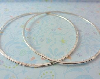 Sterling Silver Bangle -  Sterling Silver 925 Plain Flat Stacking Bangles Bracelet Hammered Textured Handmade