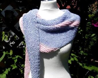 Triangle cloth hand knitted summer scarf denim pink Schaltuch