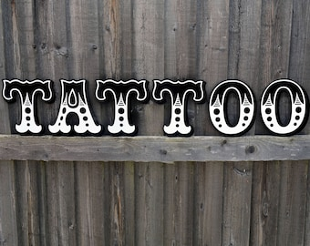 TATTOO lettering sign vintage shop rockabilly home large retro wall art laser cut acrylic black white industrial old school letters ink red