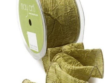 Ribbon, 2 Inch Solid Crushed Wired Ribbon,  By the Yard   Olive Crush