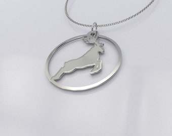 Reindeer Necklace - Prancing Reindeer Pendant - Reindeer Charm - Reindeer Locket - .925 Sterling Silver Reindeer Jewelry