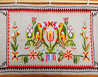 Vintage Wall Hanging, Colorful Embroidery on Ecru Linen, Parrots and Flowers, Textile Wall Decor, Fiber Art, 1960s Mid Century Handicraft