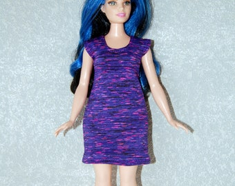 Dress fits Curvy Barbie fashionista fashion doll clothes Silvery Purple Pink Stripe A4B197 Ready to ship rts