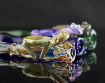 Frog Glass Chillum / Large Bat Pipe / Hand Pipe / Hand Blown Pipe / American Made Glass  / You Choose the Color / Made to Order