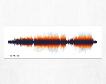 100 Years - Lyrics Sound Wave Art Print, Framed Print, or Canvas - Song Audio Wave Art Print - Custom Gift Idea for Music Lovers, Musicians