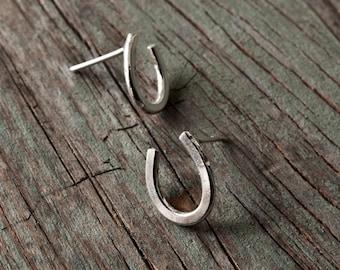 sterling silver lucky horseshoe stud earrings, small stud earrings, ildiko jewelry