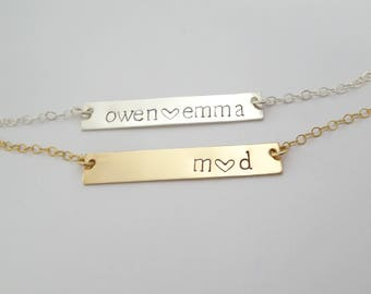 Hand stamped bar necklace, Your Name Necklace, Kids names jewelry, Initials Necklace, Bridesmaid Gifs, Gift for for her. LAminiJewelry