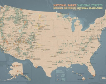 US National Parks, Monuments & Forests Map 24x36 Poster