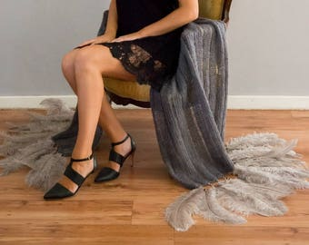 Mohair Charcoal Knitwear Ladder Stitch Shawl with crystal beads and ostrich feathers