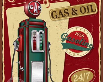 Filling Station Gas + Oil  Vintage Retro Style Metal Sign Home Deco Garage Office Man Cave Lovely Gift