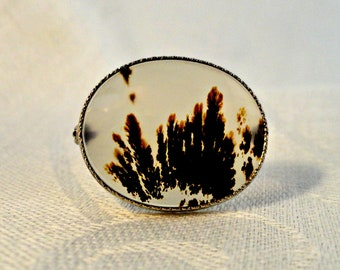 Moss Agate Sterling Brooch Pin, Antique Moss Agate Pin w Box