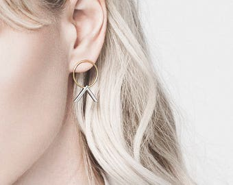 Silver and gold chevron hoops - Two tones earrings - Chevron hoop studs