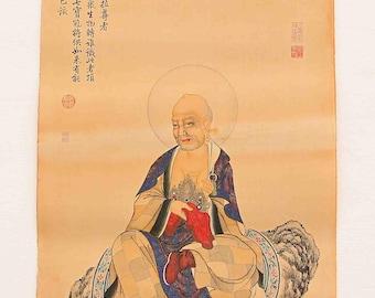 N4608 Hand Painted Tibetan Buddhism Kraft Thangka - Arhat