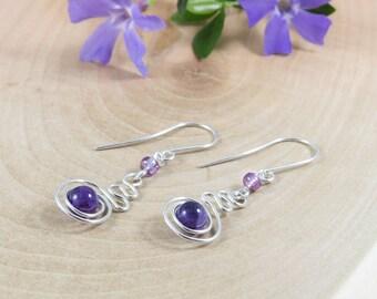 Argentium Sterling Silver Purple Dangle Earrings, Amethyst Silver Spiral Drop Earrings, Dainty Dangle Earrings Argentium Silver