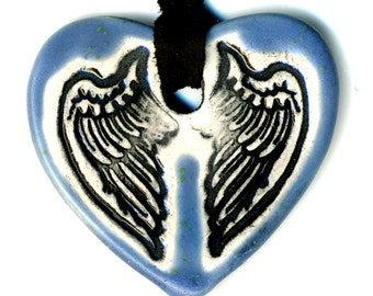 Tiny Cloaked Wing Heart Ceramic Necklace in Blue