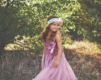 flower girl dress- baby flower girl dress- dusty rose flower girl dress- girl dress- tutu dress- lace dress- pink dress- country dress