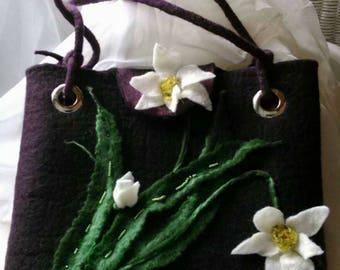 Bag for girls Felt bag Wet felted bag Floral embellished bag Woolen bag  Felt bag Beautiful female bag the purple bag