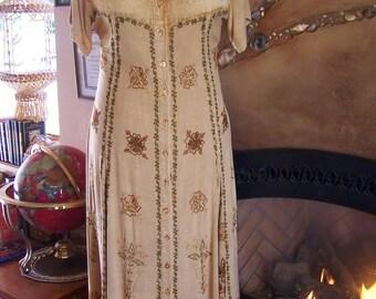 Embroidered Dress, Amber Dress, 80s maxi dress, Indian maxi dress, Autumn dress, size XL