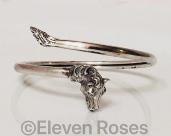 Vintage 925 Sterling Silver Horse Head Bypass Wrap Bracelet Free US Shipping