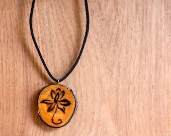 Tribal Flower Necklace, Black Flower Necklace, Wood Burned Pendant, Wood Slice Necklace, Wood Slice Jewelry, Black Flower Pendant
