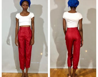 High Waisted Pants / Straight Leg Pants Red Trouser Pants High Rise Pants Small 80s Cuffed Trousers Cropped Trousers High Waist Trousers
