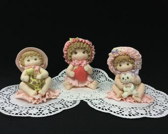 Cold Porcelain Baby Girl Cake Topper, Baby Shower, Baby Girl, Decoration
