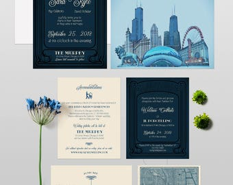 Chicago Illinois illustrated wedding invitation set Rustic Urban Industrial Art Deco wedding Chicago map watercolor - Deposit Payment