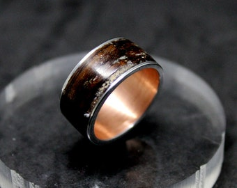 Wooden ring antiqued copper ring