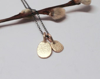 14k Gold Pendants on Sterling Silver Oxidized Chain
