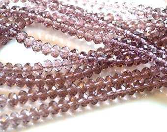 Amethyst Crystal Rondelle Beads  50