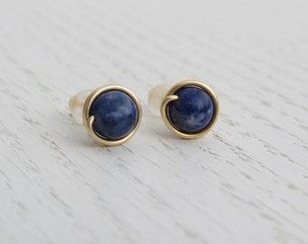 Sodalite earrings, Blue stud earrings
