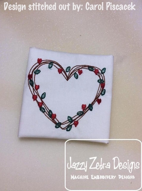 Simple heart vine wreath sketch embroidery design - Valentines day sketch embroidery - Valentine sketch embroidery - heart sketch embroidery