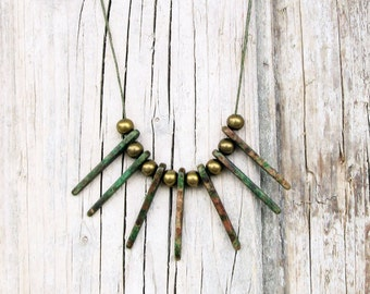 Olive Necklace, Ceramic Necklace, Spike Necklace, Boho Necklace, Geometric Necklace