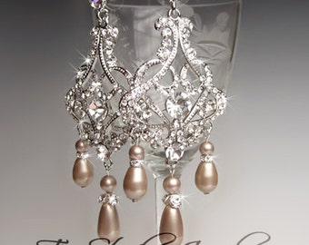 Champagne Pearl Chandelier Bridal Earrings - Other pearl colors available