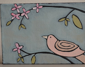 Original Little Bird Down On A Branch Painting On Canvas With Flowers