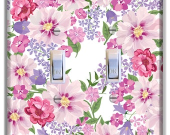 Pink Purple Flowers Light Switch Plate Cover Decor Bedroom Bathroom