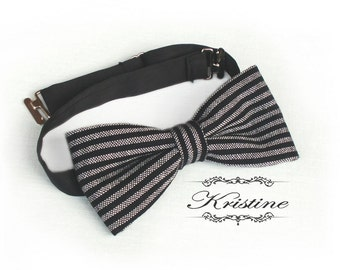 Mens vintage bow tie - Striped handmade bow tie - striped black and white bowtie