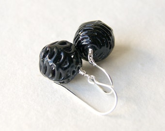 Black Spider Web Glass Bead Earrings - vintage glass lace beads with sterling silver earwires - Glass Cage Earrings