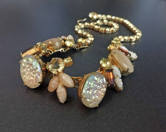 """Molded Glass Necklace Iridescent White Nugget Art Glass & Leaves with Yellow Rhinestones on Gold Tone, Formal Vintage Jewelry 15"""""""