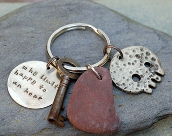 Skull Keychain White Bronze, Beach Stone, Skeleton Key, For Him, Unisex, Accessory - Happy Hour