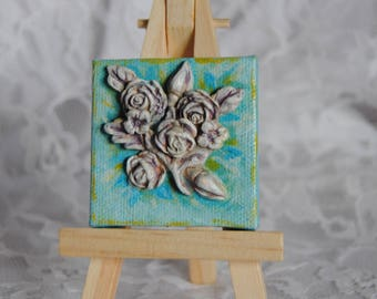 Sculpted flowers on painted canvas miniature